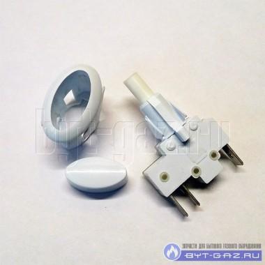 """Кнопка электро розжига ПКН-506-111 газовых конфорок газовой плиты """"GEFEST"""", """"DARINA"""" белая овальная"""