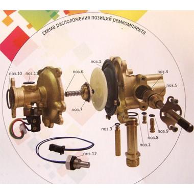 Ремкомплект (мембрана и набор сальников) водяного узла газовой колонки, проточного газового водонагревателя, ВПГ Вектор, Vektor мощностью 20W (в блистере)